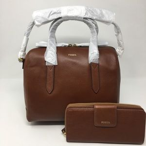 🌺Fossil Sydney Satchel medium brown & Madison zip